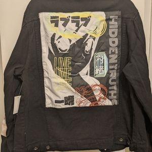 Hidden truths black denim jacket anime graphic